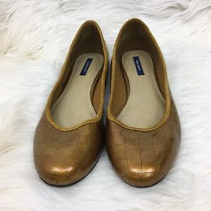 Lands End Gold Copper Ballet Flats Size 9